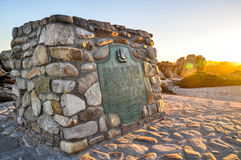 Marker stone at Cape Agulhas - Africa's southernmost point Royalty Free Stock Photos