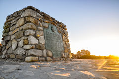 Marker stone at Cape Agulhas - Africa's southernmost point Stock Photo