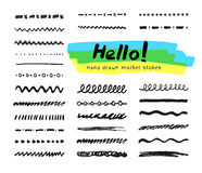 Marker strokes set Royalty Free Stock Images