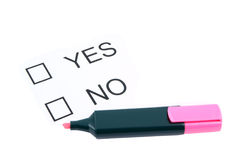 Marker and tick boxes with Yes and No Stock Photo