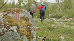 Marker on the trekking in the mountains. Norway stock video footage