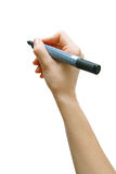 Marker in woman hand. Woman writes on the whiteboard marker Royalty Free Stock Photo