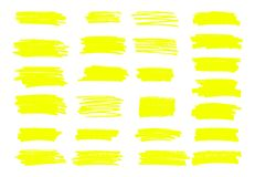 Free Marker Yellow Lines. Vector Highlighter Brush Lines. Hand Drawin Stock Photography - 134834242