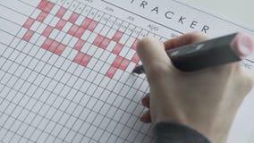 Markera dagar på en kalender vid den röda klädde med filt pennan stock video