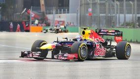 Markera Webber som är tävlings- i grand prix för F1 Singapore Arkivbilder