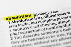 Markerade engelska uttrycker `-absolutism` och dess definition i ordboken Arkivfoton
