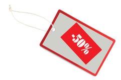 Markering 50% van de verkoop Macro van de Close-up van de Korting de Etiket Geïsoleerdeo stock foto's