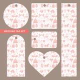 Markering met huwelijksornament dat wordt geplaatst Roze patroon Royalty-vrije Stock Afbeelding