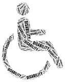 Markering of woordwolk in verband met gehandicapten Stock Afbeeldingen