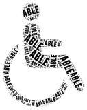 Markering of woordwolk in verband met gehandicapten Stock Foto's