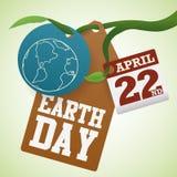 Markeringen en Etiketten voor de Herdenking van de Aardedag in een Tak, Vectorillustratie Stock Fotografie