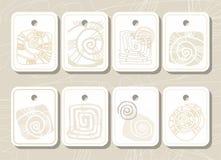 Markeringen, etiketten, overzeese shell, overzees, gekleurde contour Royalty-vrije Stock Foto's