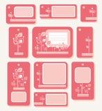 Markeringen, etiketten, roze bladeren op rozerode achtergrond, ecologie, aard Royalty-vrije Stock Fotografie