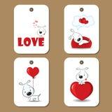 Markeringen met leuke honden in liefde vector illustratie