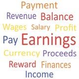 Markeringswolk: Inkomens met synoniemen. Stock Illustratie