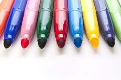 Markers. Multicolored markers isolated on a white background Royalty Free Stock Image