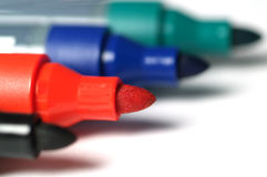 Markers. Black, dark,  blue, red, green markers Royalty Free Stock Images
