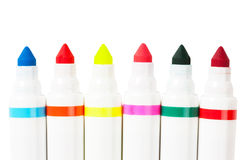 Markers. Six colorful markers (blue, red, yellow, green, orange) over white background Royalty Free Stock Images