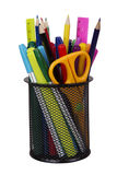 Markers and accessory in black basket Stock Photos