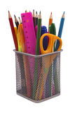Markers and accessory in black basket Royalty Free Stock Photo