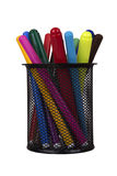 Markers in basket Stock Images