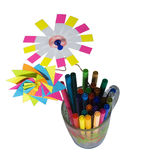 Markers with decorate. From stickers and color wire stock photo