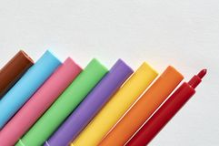 Markers in a group, colors for writing and drawing Stock Photos