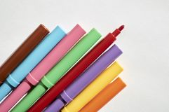 Markers in a group, colors for writing and drawing Stock Images