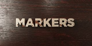 Markers - grungy wooden headline on Maple  - 3D rendered royalty free stock image Royalty Free Stock Photography