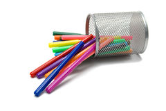 Markers lying in pencil holder Stock Photos