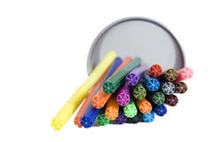 Markers lying in pencil holder Royalty Free Stock Photos