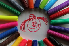 Markers and mood. Different shapes of flomasterom create a good mood Royalty Free Stock Image