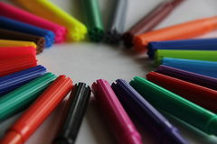 Markers and mood. Different shapes of flomasterom create a good mood Royalty Free Stock Photos