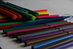 Markers and mood. Different shapes of flomasterom create a good mood Royalty Free Stock Photography