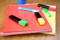 Markers and notebooks Stock Image