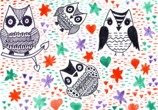 Markers painting owls asbtract nature fantasy background. Markers painting owls asbtract nature fantasy backdrop royalty free stock images