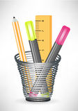 Markers pencil and ruler in office cup Royalty Free Stock Photos