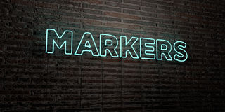 MARKERS -Realistic Neon Sign on Brick Wall background - 3D rendered royalty free stock image Royalty Free Stock Photos