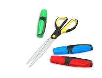 Markers and scissors Stock Images