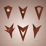 Markers 05 set. Vector chocolate markers for map template for icons Stock Photography