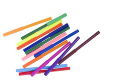 Markers. Several multicolored markers isolated on white background Stock Image