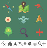 Markers to map. Flat colored icons Stock Photo
