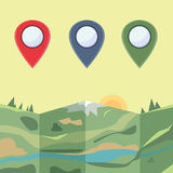 Markers to map , Vector. Markers to map. Flat colored icons Royalty Free Stock Photos