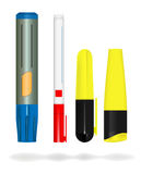 Markers. Vector various markers on white background, gradient mesh used Stock Image