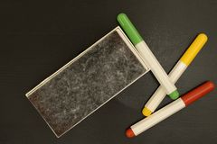 Markers and whiteboard eraser Stock Photos