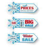 3 Markers Winter Sale. 3 markers for winter sale Stock Photography