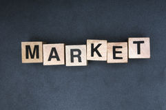 Market. Wooden cubes spelling the word market Stock Images