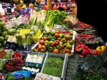At the market. Fruits and vegetables market in Barcelona Stock Photography