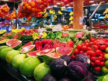 At the market. Fruits and vegetables market in Barcelona royalty free stock images
