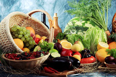 Market. Fresh Vegetables, Fruits and other foodstuffs. Huge collection Stock Photo